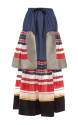 Alexis Mabille Bayadere Striped Long Chambray Flounce Skirt Blue