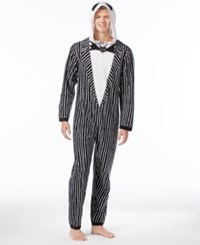 Briefly Stated State Men's Jack Skellington Hooded Jumpsuit Pajamas Black White