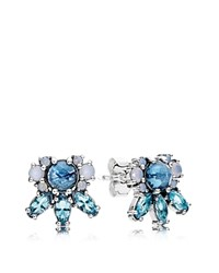 Pandora Design Stud Earrings Glass And Sterling Silver Patterns Of Frost Blue Multi Silver