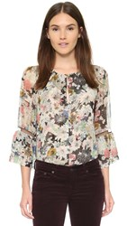 Twelfth St. By Cynthia Vincent Bell Sleeve Blouse Sketch Floral