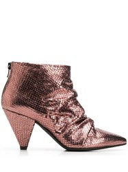 Marc Ellis Snakeskin Effect Ankle Boots Metallic
