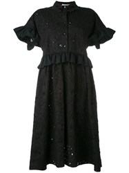 Vivetta Embroidered Flared Sleeve Shirt Dress Women Cotton Polyester 42 Black