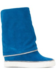 Casadei Chain Trimmed Wedge Boots Blue