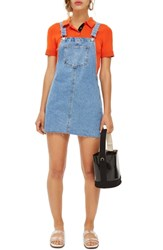 Topshop Petite Raw Hem Denim Pinafore Dress Mid Denim