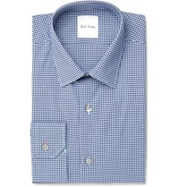 Paul Smith Blue Slim Fit Gingham Cotton Poplin Shirt Blue
