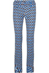Prada Belted Printed Jersey Straight Leg Pants Blue