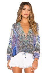 Camilla Lace Up Top Blue