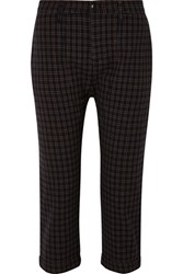 The Great Saddle Cropped Checked Twill Straight Leg Pants Black
