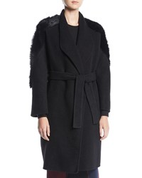 Gentryportofino Wrap Front Belted Cashmere Coat W Lamb Fur Black