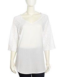 Xcvi Thora Three Quarter Lace Poplin Tunic White