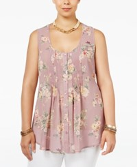 American Rag Trendy Plus Size Sheer Printed Blouse Only At Macy's Zepher Combo