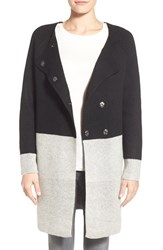 Women's Coin 1804 Colorblock Sweater Coat Black Heather Grey