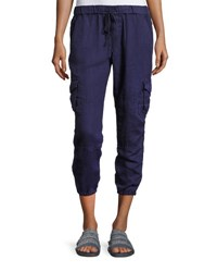 Joie Argine Linen Jogger Pants Blue Dark Navy