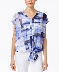 Alfani Petite Abstract Print Tie Waist Blouse Only At Macy's Striped Horizon