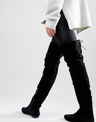 Daisy Street Lace Back Black Over The Knee Boots Black