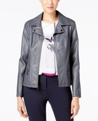 Alfani Faux Leather Moto Jacket Only At Macy's Stadium Grey