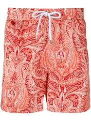 Kiton Paisley Print Swim Shorts Red