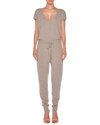 Agnona Short Sleeve Cashmere Drawstring Jumpsuit Taupe Light Taupe