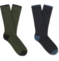 Corgi Two Pack Ribbed Wool And Cotton Blend Socks Multi