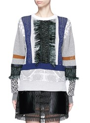 Toga Archives Fringe Mix Cotton Intarsia Knit Sweater Multi Colour