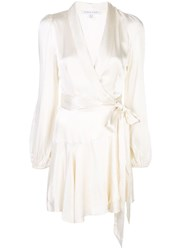 Shona Joy Satin Wrap Dress White