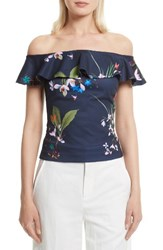 Ted Baker Women's London Imygen Off The Shoulder Top Navy