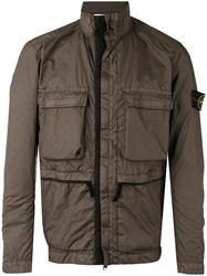 Stone Island Pocket Front Rain Jacket Brown