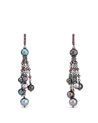 David Yurman Bijoux Cultured Gray Freshwater Pearl Fringe Earring With Rhodolite Garnet And Hematine Multi