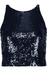 Alice Olivia Samira Cropped Sequined Chiffon Top Navy