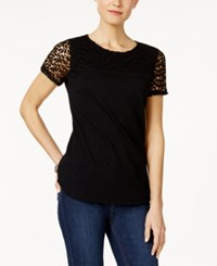Charter Club Short Sleeve Lace Yoke Top Only At Macy's Deep Black