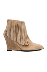 Elysewalker Los Angeles Suede Fringe Booties In Neutrals Brown