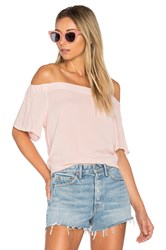 1.State Off Shoulder Flounce Sleeve Top Pink