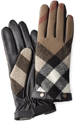 Burberry Wool And Leather Touch Screen Gloves
