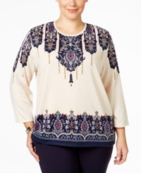 Alfred Dunner Plus Size Sierra Madre Collection Paisley Intarsia Sweater Multi