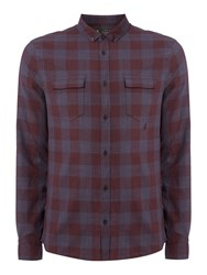 Label Lab Men's Max Linen Mix Checked Shirt Navy