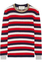 Gucci Metallic Trimmed Striped Wool And Cashmere Blend Sweater Ivory