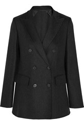 Max Mara Double Breasted Stretch Wool And Cashmere Blend Blazer Dark Gray