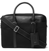 Hugo Boss Meridian Cross Grain Leather Trimmed Canvas Briefcase Black