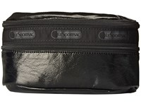 Le Sport Sac Double Zip Belt Bag Black Crinkle Patent Wallet