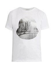 Moncler Glacier Print Crew Neck Cotton T Shirt White Multi