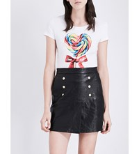 Love Moschino Candy Heart Print Stretch Jersey T Shirt Optical White