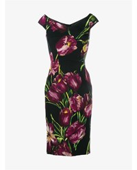 Dolce And Gabbana Off Shoulder Flower Print Silk Dress Black Purple Green Yellow