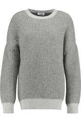 Jil Sander Ribbed Cashmere And Mohair Blend Sweater Gray