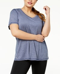 Ideology Plus Size Striped T Shirt Created For Macy's Navy Serenity