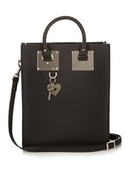 Sophie Hulme Mini Albion Buckle Leather Tote Black Silver