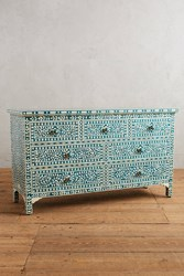 Anthropologie Bone Inlay Seven Drawer Dresser Dark Turquoise