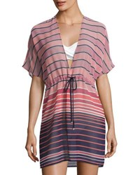 Michael Kors Draw Cord V Neck Swim Coverup Caftan Pink