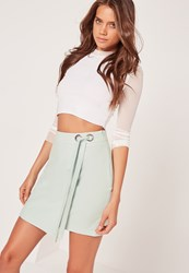 Missguided Eyelet Tie Side Wrap Skirt Green Green