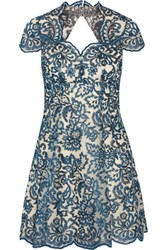 Marchesa Notte Embroidered Tulle Mini Dress Navy