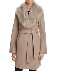T Tahari Flora Faux Fur Trim Wrap Coat Brown Sugar